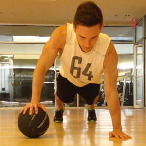 One Arm Med Ball Pushup: Step 2
