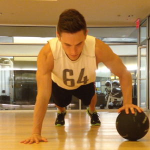 One Arm Med Ball Pushup: Step 3
